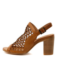 VIKKI Heeled Sandals in Tan Leather