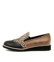 CAYANA Flat Loafers in Black/ Latte Ocelot Leather