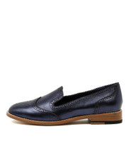 LANNY Flat Loafers in Navy Metallic Leather