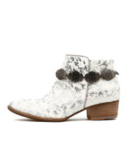 LEROY Ankle Boots in White/ Silver Pony Hair