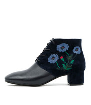 JACINDA Ankle Boots in Navy Embroidered Leather