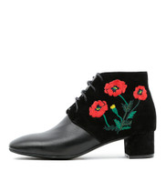 JACINDA Ankle Boots in Black/ Red Embroidered Leather
