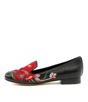 ALCEE Loafers in Black Embroidered Leather