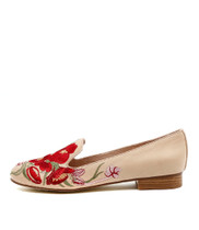 ALCEE Loafers in Nude Embroidered Leather