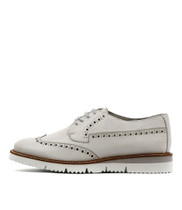 WATSON Lace-up Flats in Winter White Leather