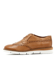WATSON Lace-up Flats in Dark Tan Leather