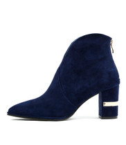 ALOHA Ankle Boots in Navy Suede
