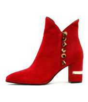 ALKIE Ankle Boots in Red Suede