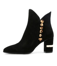 ALKIE Ankle Boots in Black Suede