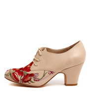 SPERLA Lace-Up Booties in Nude Leather