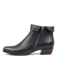 TWINZIP Ankle Boots in Navy Leather
