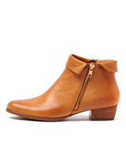 TWINZIP Ankle Boots in Tan Leather