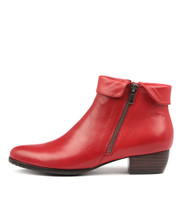 TWINZIP Ankle Boots in Red Leather