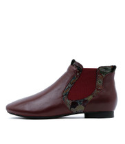 QINTAR Ankle Boots in Burgundy/ Multi Leather
