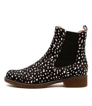 OCTAVIA Ankle Boots in Black/ White Spot Leather