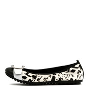 BRAVA Ballet Flats in Black/ White Leather