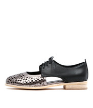 AMARA Lace-Up Flats in Pewter/ Black Leather