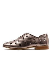 LAYER Lace-Up Flats in Champagne Shine Leather