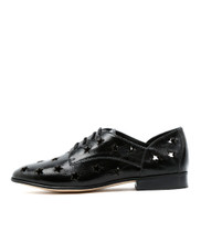 LAYER Lace-Up Flats in Black Metallic Shine Leather