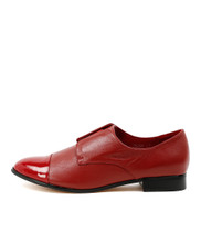 JENNA Flat Brogues in Red Leather