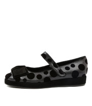 NELLIS Flat Mary Janes in Black/ Grey Velvet