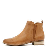 INFLICT Ankle Boots in Dark Tan Leather
