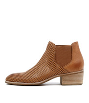 HISKA Ankle Boots in Dark Tan Leather