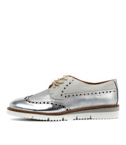WATSONIA Lace-up Flats in Silver/ Multi Leather