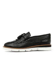 WATTLE Flatform Loafers in Black Leather
