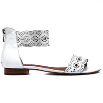 Palatie Flat Sandals in White Leather