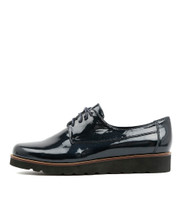 PADAN Lace-up Flats in Navy Patent Leather