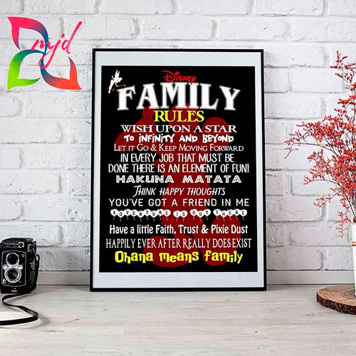 Disney Family Rules Print - quotes for Disney families