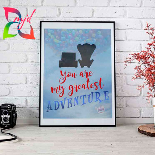 UP Inspired - with balloons and clouds/map - You are my greatest adventure! - Free Personalization - Love, Family, Wedding