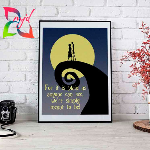 Nightmare Before Christmas Print - - Simply meant to be - Family, Love, Anniversary