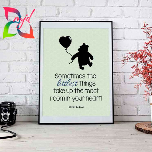 Winnie the Pooh Print - Free Personalization - Baby, Family, Nursery Print, Baby Shower Gift