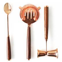 Copper & Teak Bar Set