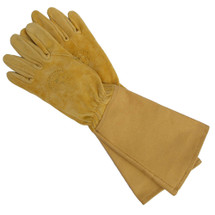 Leather & Canvas Long Gardening Gloves