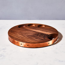 Walnut & Copper Round Serving Board by Meadors Inc.