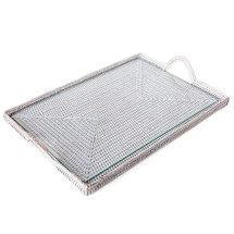 Rattan Glass Tray