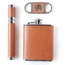 Leather Flask & Cigar Set