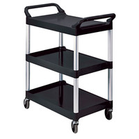 3 Shelf Plastic Utility Cart, Black  60RUB342488BLA-Each
