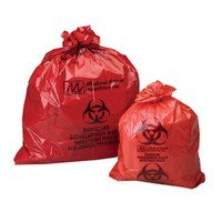 "Biohazard Bags, Red, 25"" x 34"""