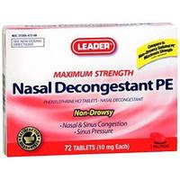 Leader Nasal Decongestant PE Tablets 10 mg (18 Count)