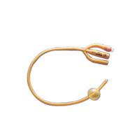 Gold 3Way SiliconeCoated Foley Catheter 16 Fr 30 cc
