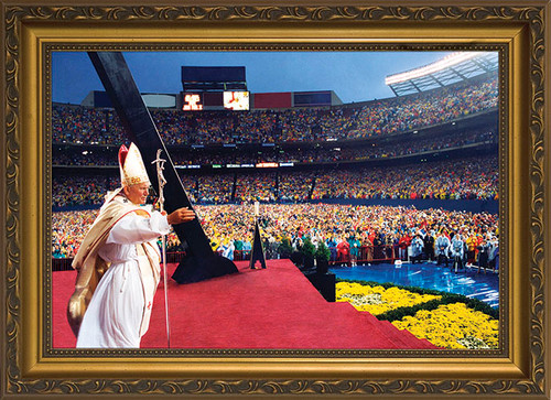 Pope John Paul II Celebrating Mass at Giants Stadium Framed Art