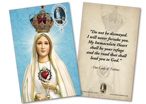 Fatima 100 Year Anniversary with Immaculate Heart Quote Holy Card
