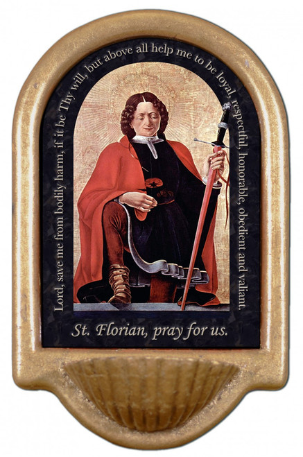 St. Florian Firefighter's Prayer Holy Water Font