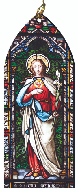 Immaculate Heart of Mary Stained Glass Wood Ornament
