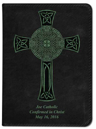 Personalized Catholic Bible with Celtic Cross Cover - Black RSVCE