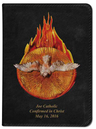 Personalized Catholic Bible with Holy Spirit Fire Cover - Black RSVCE